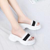 韩版潮时尚中跟增高厚底鞋凉拖鞋女鞋休闲运动风外拖鞋