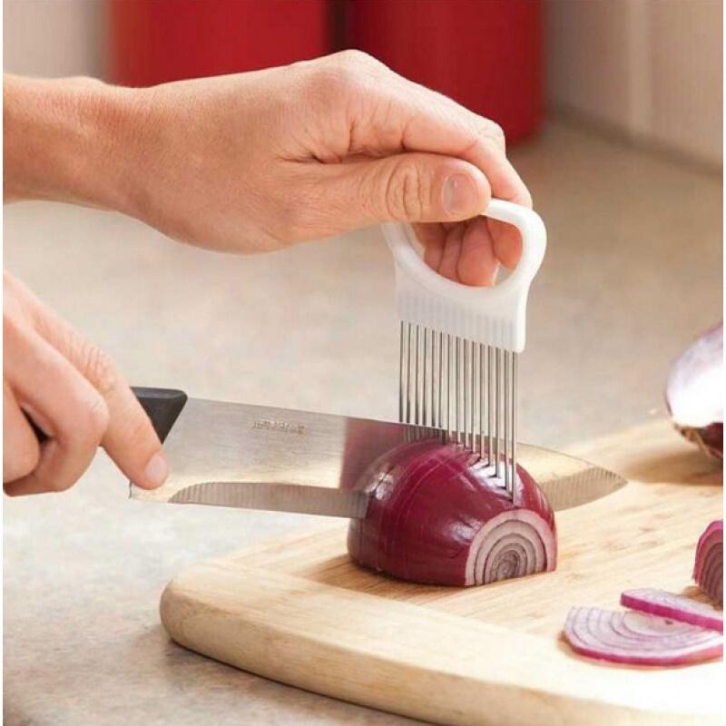 创意厨房工具洋葱插不锈钢肉松针圆形切片固定器切柠檬片器松肉针固定切片器护手
