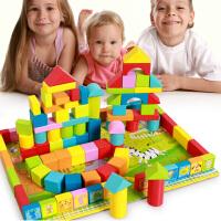 12生肖儿童实木制宝宝益智积木玩具3-6周岁木头小男孩1-2婴儿桶装