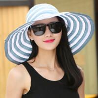 草帽女夏天春夏海边沙滩帽户外防晒防紫外线大沿帽折叠遮阳帽