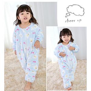 百槿 冬季儿童可爱印花加绒连体睡衣睡袋 中小男童女童加绒连体睡袋