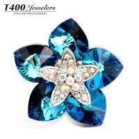 T400采用施华洛世奇元素水晶胸尚胸针胸花女别针饰品胸针蓝色魅影5666