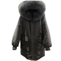 韩国反季冬装宽松超大毛领羽绒服女中长款加厚连帽外套
