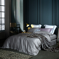 LOVO家纺 120支高支高密进口匹马棉全棉四件套 奢华缎纹床单被套 1.5/1.8米床 拉合尔之夜