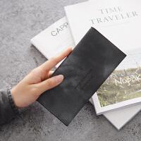 新款简约长款钱包女士学生折叠韩版零钱包可爱小钱夹清新皮夹 灰色