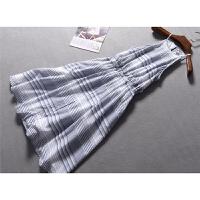 美国单时尚不规则条纹显瘦高腰吊带无袖连衣裙有大码春夏女装0.29