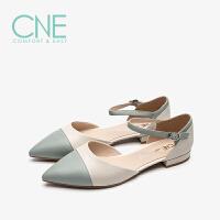 CNE2019夏季新款凉鞋女仙女风晚晚鞋拼色玛丽珍鞋女凉鞋AM14805