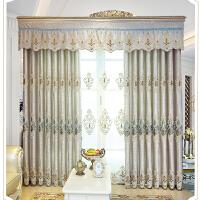 窗帘遮光布北欧简约卧室客厅全遮光遮阳成品欧式现代奢华高档大气 灰色 皇冠