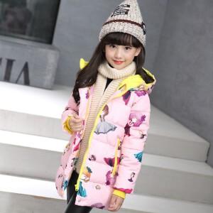 百槿 冬季女童加厚连帽卡通女孩印花棉服 中大童加厚印花时尚棉服
