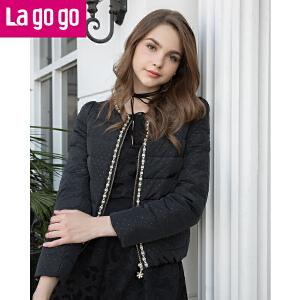lagogo/拉谷谷冬季钉珠圆领修身短款轻薄波点羽绒服女