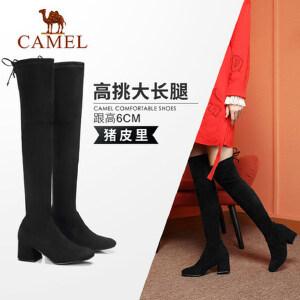 骆驼女鞋2018秋季新款 粗跟高挑舒适复古耐磨瘦瘦靴 过膝长筒靴女