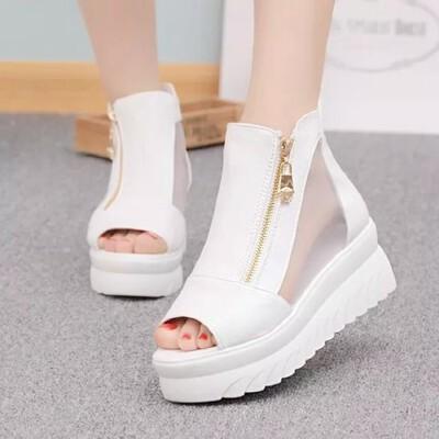 时尚坡跟厚底松糕鞋网纱性感高跟鞋夏季韩版鱼嘴凉鞋女鞋 品质保证 售后无忧
