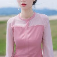 2018春装新款韩版修身显瘦气质秋冬款长袖雪纺拼接连衣裙短裙裙子 粉红色