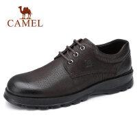 camel骆驼男鞋 秋季新款商务休闲皮鞋牛皮高弹轻便系带办公皮鞋