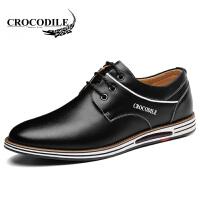鳄鱼恤休闲鞋系带休闲皮鞋英伦风低帮鞋舒适男鞋