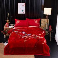 拉舍尔毛毯被子5D云毯双层绒毯加厚保暖婚庆毯子冬季睡毯结婚盖毯 200x230cm 8斤加厚云毯