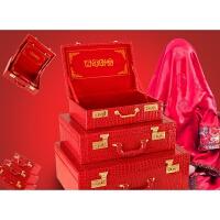 结婚行李箱红箱子结婚箱陪嫁箱大红皮箱新娘旅行箱礼金箱密码木箱 红色