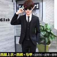西服套装男士三件套韩版修身青少年小西装学生休闲西装结婚正装潮