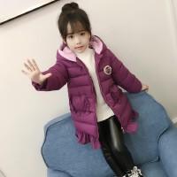 百槿 女童棉衣外套2017冬装新款童装儿童中长款棉服女韩版洋气羽绒棉袄