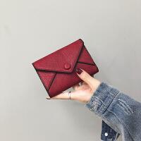小钱包女短款新款日韩版简约纯色搭扣钱夹迷你零钱包卡包
