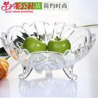 白领公社 水果盘 多功能大号水晶玻璃果盘欧式现代创意瓜子碗家用客厅加厚干果糖果盘子