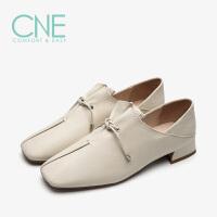 【顺丰包邮,大牌价:318】CNE春夏季新款方头深口低跟系带软皮奶奶鞋女单鞋AM21201