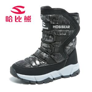 哈比熊冬季儿童雪地靴男童保暖中筒靴女童防滑户外棉鞋童鞋
