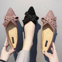 时尚百搭铆钉瓢鞋女 韩版女士鞋子尖头浅口单鞋 新款豆豆鞋平底单鞋女