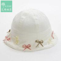 儿童凉帽儿童帽女童渔夫帽出游遮阳太阳帽棉帽婴幼女宝宝帽子盆帽 奶白色可调节 偏大2CM 均码