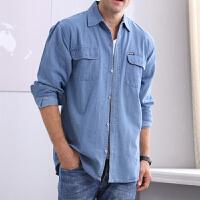 2018 新款中年男士牛仔衬衫 夏季长袖大码衬衣薄款工作服夏天纯色男装性感潮流 浅蓝色 L码(建议1斤-0斤)