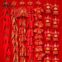 2019春节新年装饰用品过年货喜庆鞭炮红火辣椒串挂件客厅室内布置