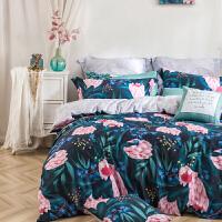 LOVO家纺 全棉60支高支高密四件套纯棉缎纹床上用品床单被套1.5/1.8米床 臻境