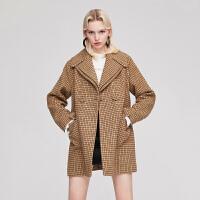 dzzit地素 18冬装新款复古双领千鸟格外套毛呢大衣女3F4G3043L