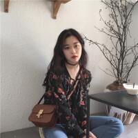 秋装女28新款韩版V领系带慵懒长袖衬衫百搭碎花套头港味上衣潮 花色 均码