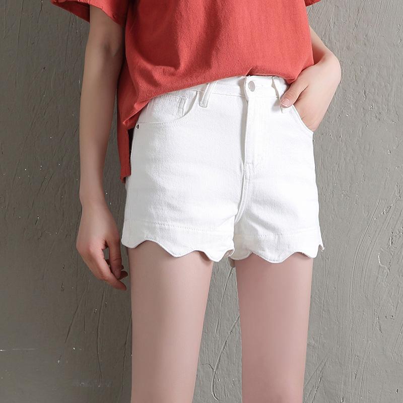 Freefeel夏季新款女式中高腰牛仔裤短裤夏季薄款修身大码显瘦弹力韩版