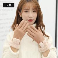 手套冬季韩版可爱手套保暖加厚保暖学生卡通日系毛线分指五指触屏手套