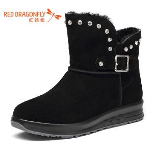 红蜻蜓女棉鞋平底加厚保暖雪地靴女加绒磨砂短靴女