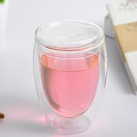 耐热玻璃双层杯带盖透明茶杯保温隔热花茶水杯子350ML玻璃杯花茶杯子水杯办公杯玻璃盖子
