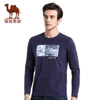 骆驼男装 秋季新款时尚青春流行印花圆领棉质休闲长袖T恤衫男