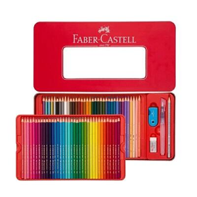 德国辉柏嘉红色铁盒1159经典水溶彩铅24色/36色/48色/60色水溶性彩色铅笔专业美术涂色填色绘画笔手绘笔彩色铅笔红色铁盒装 颜色鲜艳 易于上色