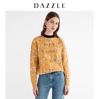 DAZZLE地素 19春装新款洋气花朵字母刺绣毛针织衫女2G1E4121L