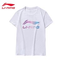 李宁短袖女士2019新款运动时尚系列休闲圆领夏季白色休闲针织T恤AHSP302