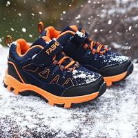 男童鞋秋冬季中大童男孩鞋子小学生旅游鞋防水加绒棉鞋儿童运动鞋