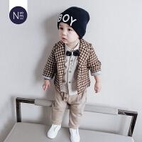宝宝格子套装季加厚1一5岁儿童绅士三件套韩版童装男童西装套装