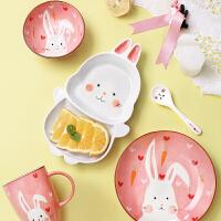 光一儿童早餐餐具套装卡通动物造型家用吃饭盘子创意分格幼儿可爱碗碟