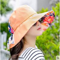 女士遮脸折叠沙滩防晒大沿太阳帽 遮阳帽骑车帽子户外防紫外线