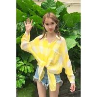新款春夏季女装韩版学生中长款防晒衫宽松长袖格子衬衫衬衣防晒衣上衣 均码