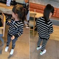 潮女童条纹拉链外套+运动裤时尚休闲两件套 2018套装春装新款韩版 如图色
