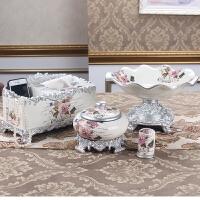 欧式果盘套装奢华创意家居客厅茶几装饰品摆件水果盘三件套家用