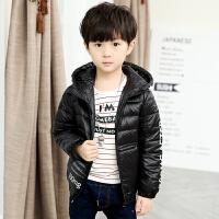 童装男童羽绒服短款潮2017新款韩版中大童轻薄白鸭绒外套 黑色